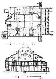 Planta y alzado de Santa Sofia Constantinopla