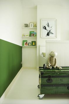 ::green chalk wall + book shelves:: kids room, nursery © by MyDeer. Kids Bedroom, Bedroom Decor, Wall Bookshelves, Book Shelves, Casa Kids, Deco Kids, Half Painted Walls, Chalk Wall, Nursery Inspiration