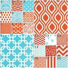 Modern Aqua and Orange Bedding, Baby Bedding, Crib Set, Aqua Orange Chevron Dots Zebra Dandelion Nursery