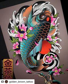 Koi Tattoo Design, Japan Tattoo Design, Dragon Tattoo Designs, Dragon Tattoos, Japanese Koi Fish Tattoo, Koi Fish Drawing, Japanese Tattoo Designs, Fish Drawings, Pez Koi Tattoo