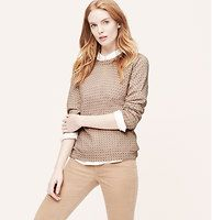 Petite Mosaic Print Sweater - A delicate mosaic print mesmerizes this silk-kissed style. Crew neck. Long sleeves. Ribbed neckline, cuffs and hem.