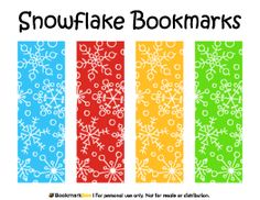 Free printable snowflake bookmarks in PDF format. The template includes four different bookmark designs per page. Free Printable Bookmarks, Free Printables, Bookmark Template, Castle Coloring Page, Coloring Pages, Lebron James Wallpapers, Snow Flakes Diy, School Displays, Holiday Themes