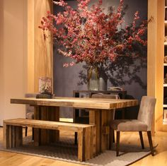 LOVE this dining room table with bench seating.  but i would want it with 2 benches and no chairs