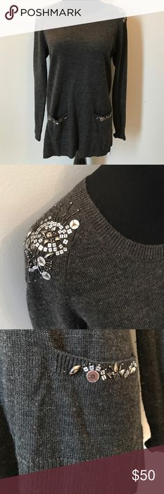 Victor Alfaro Grey Sweater with Bead Detail Beautiful beaded detail on shoulder and pockets! Victor Alfaro Sweaters Crew & Scoop Necks