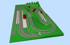 Nice N-scale track plan with a double main line, two train stations and one yard, all together fitted on a small space. N Scale Train Layout, N Scale Layouts, N Scale Trains, Model Train Layouts, Train Stations, Model Trains, Planer, How To Plan, Miniatures