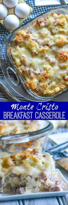 Monte Cristo Style Breakfast Casserole - features chopped chunks of ham and melted Swiss cheese. It deconstructs the now classic sandwich and reassembles it in a baking dish making for an absolutely delicious, easy, all in one breakfast or brunch bake. Brunch Recipes, Breakfast Recipes, Breakfast Crockpot, Yummy Breakfast Ideas, Breakfast Finger Foods, Breakfast Desayunos, Cooking Recipes, Crockpot Recipes, Vegan Recipes