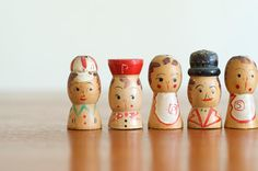 Vintage Wooden Salt and Pepper Shakers / Spice by HouseofSeance