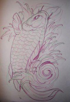 Koi fish by SunofKyuss on DeviantArt … Koi Dragon Tattoo, Carp Tattoo, Tattoo Ink, Japanese Koi Fish Tattoo, Koi Fish Drawing, Japanese Tattoo Designs, Koi Tattoo Design, Arm Cover Up Tattoos, Cover Tattoo