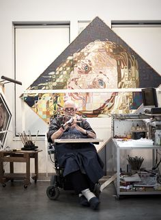 Visit With Chuck Close - Village Voice Artist Painting, Artist Art, Artist At Work, Famous Artists, Great Artists, Chuck Close Art, Arts Ed, High Art, Art Plastique