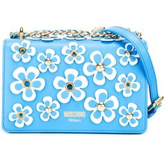 Moschino floral embellished crossbody bag (3.245.195 COP) ❤ liked on Polyvore featuring bags, handbags, shoulder bags, blue, blue purse, moschino shoulder bag, floral crossbody, crossbody chain purse and blue shoulder bag