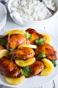 A simply gorgeous, sticky, tasty, Easy Gluten Free Hawaiian Chicken Thighs recipe that's oven baked! Yummy Chicken Recipes, Yum Yum Chicken, Healthy Chicken, Healthy Dinner Recipes, Cooking Recipes, Turkey Recipes, Duck Recipes, Meat Recipes, Yummy Recipes