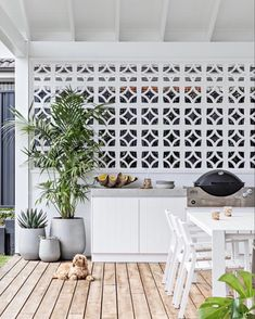Backyard Sheds, Backyard Patio, Outdoor Rooms, Outdoor Living, Outdoor Kitchens, Breeze Block Wall, Up House, Outdoor Kitchen Design, House And Home Magazine