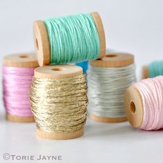Embroidery threads organised