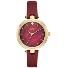 Kate Spade New York Burgundy Womens Holland Three Hand Burgundy Watch... ($195) ❤ liked on Polyvore featuring jewelry, watches, burgundy, polish jewelry, kate spade watches, gold wristwatches, gold wrist watch and gold jewelry