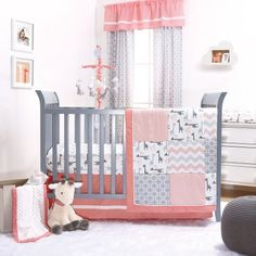 The Peanut Shell 4 Piece Baby Crib Bedding Set - Uptown Girl Coral and Grey Giraffe Patchwork - 100% Cotton Fabrics