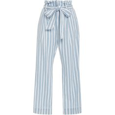Frame Denim Le Paperbag Trousers (6 200 UAH) ❤ liked on Polyvore featuring pants, bottoms, trousers, zipper pants, light weight pants, blue trousers, stripe pants and tie waist pants