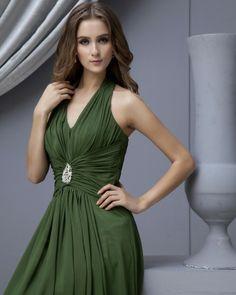 Green A-line Long Halter Chiffon Bridesmaid Dress(BTBD443)