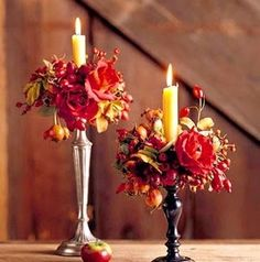 I like the mixing of the metal & wood candleholders