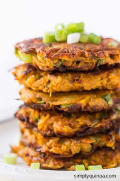 5-ingredient Sweet Potato Quinoa Fritters - pan seared with healthy coconut oil | recipe on simplyquinoa.com