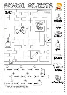 A collection of English ESL worksheets for home learning, online practice, distance learning and English classes to teach about classroom, objects, classroom. English Primary School, English Classroom, Teaching English, Vocabulary Worksheets, School Worksheets, Teaching Materials, Teaching Resources, Classroom Commands, Ingles Kids