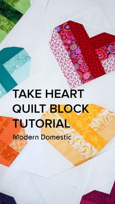 Heart Quilt Pattern, Jelly Roll Quilt Patterns, Quilt Patterns Free, Pattern Blocks, Quilt Square Patterns, Heart Patterns, Quilting Tips, Quilting Tutorials, Quilting Projects