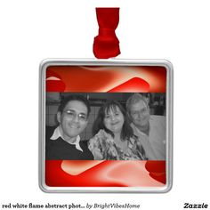 red white flame abstract photo frame square metal christmas ornament