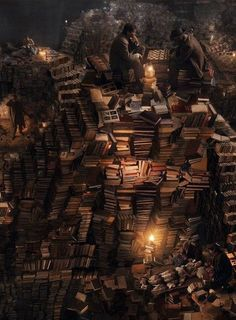 Piles of books. Get lost in Reading!