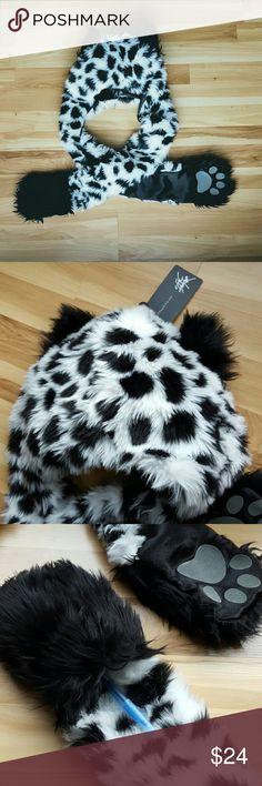 Dalmatian 3 in 1 Hat, Scarf & Gloves Adult Size Winter Hat   Soft, Plush & Adorable Faux Fur Dalmatian Print Hat - Accessories Hats