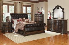 Monticello Pecan II Bedroom Collection - Value City Furniture-Queen Bed $1,099.00