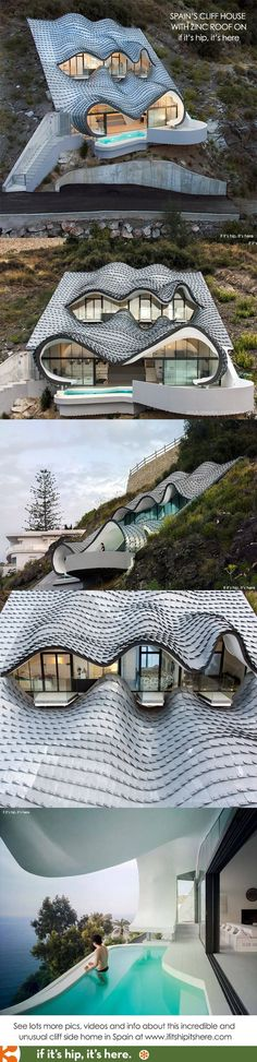 So cool! Get a good look at this very interesting home - http://www.ifitshipitshere.com/wild-cliffside-home-with-zinc-roof-by-gilbartolome-architects/