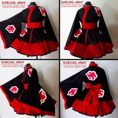Akatsuki Naruto Cosplay Lolita Kimono Dress by DarlingArmy.deviantart.com on @deviantART