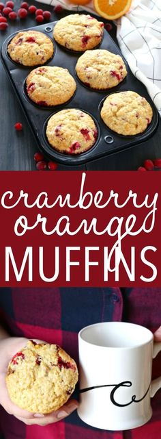 These Cranberry Orange Muffins are packed with tart cranberries and zesty orange flavour and they make the perfect sweet treat or snack They re the perfect recipe for beginning bakers because they re easy to make with simple ingredients Recipe from Muffins Blueberry, Cranberry Orange Muffins, Breakfast Recipes, Dessert Recipes, Breakfast Muffins, Paleo Breakfast, Simple Muffin Recipe, Muffin Bread, Healthy Muffins