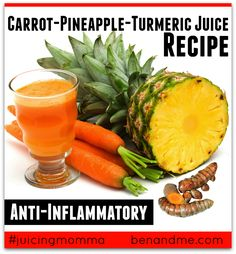 Carrot-Pineapple-Turmeric Juice -- Carrots are one of my favorite veggies to juice, especially when I'm looking for a little sweetness. Carrots go perfectly with pineapple and turmeric, two incredible foods to reduce inflammation. This is really yummy, y'all. #jucing #juicingmomma