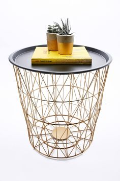 Industrial Wire And Wood Basket Side Table | Wood Basket, Industrial And  Woods