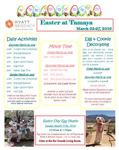"We'll be having a ""HOPPING"" fun time at Tamaya this Easter!  Stay the weekend and enjoy all these activities.  