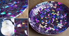 OMG i'm dying! This is so genius! Use cut up CDs to make a mosaic tile birdbath! #DIY #Outdoor decor