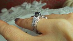 Alexandrite wedding set by David Klass Jewelry.