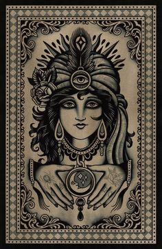 gypsy high quality print on watercolor paper Tattoo Flash Art, Tatoo Art, Tattoo Drawings, Gypsy Girl Tattoos, Desenhos Old School, Backpiece Tattoo, Tattoo Ink, Printable Poster, Tarot Tattoo