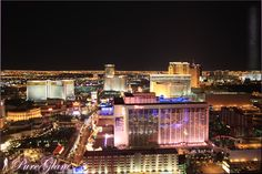 View from Eiffel Tower by night - The Strip - Las Vegas Boulevard - Las Vegas, Nevada, USA