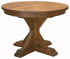 """Amish Rustic Plank Top Dining Table Round Pedestal Solid Wood Furniture 48"""" 54"""" #NewHickoryWholesale #Rustic"""