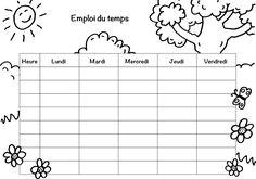Coloriage à imprimer : Emploi du temps spécial Nature German Language, Teaching Materials, Kids Learning, Planer, Math Equations, Filofax, Printables, Illustrations, Diy