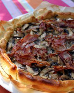 tarte ricotta thym lard champignons