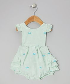 Take a look at this Green Crab Ruffle Bubble Sunsuit - Infant & Toddler by Smockadot Kids on #zulily today!