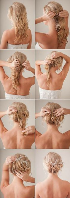 10 Fun And Fab DIY Hairstyles For Long Hair Hair tutorial for a messy bun. looks cute with accessories! Bridal Hair Tutorial, Wedding Hairstyles Tutorial, Best Wedding Hairstyles, Hairstyle Tutorials, Makeup Tutorials, Bridal Hairstyles, Fashion Hairstyles, Hairstyle Ideas, Updo Tutorial