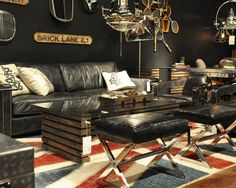 Bachelor pad meets worn out rug trend    http://colourcontrast.wordpress.com/
