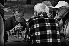 On sunny days, it is good to play chess, the park Herring - Lodz - Poland