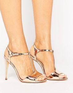 c32172ad16d New Look T Bar Metallic Heeled Sandal