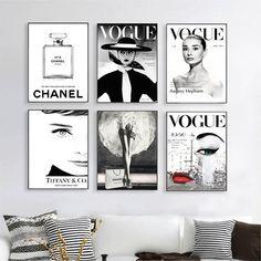 Fashion Photography Set Prints - Vogue Posters - Chanel Prints - Fashion Wall Art - Audrey Hepburn - Tiffany & Co - black and White Photo Diy Wall Art, Wall Decor, Room Decor, Wall Art Bedroom, Bedroom Ideas, Room Art, Fashion Wall Art, Fashion Room, Fashion Decor