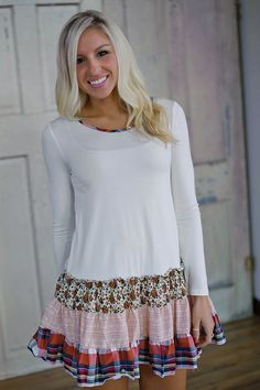 Multi print mixed fabric shirring tunic dress. Ivory