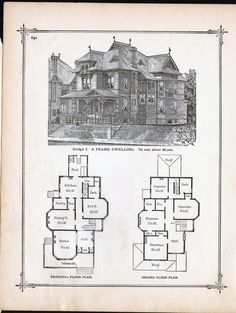 Lovely Gothic Frame Dwelling Vintage House Plans 1881 Antique Victorian  Architecture Print To Frame
